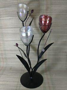 Decorative Metal & Glass Tea Light Holder - 3 Candle - Stylish