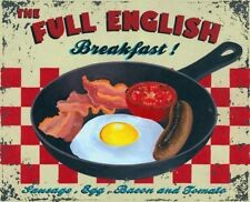 Full English Breakfast, Cafe Kitchen Pub Vintage Food Old, Small Metal/Tin Sign