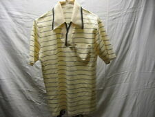 Vintage Edwards of California L Large Button Front Cream Blue Striped Polo Shirt