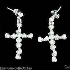 w Swarovski Crystal Heart Cross Jesus God Religious Love Charm Post Earrings NEW