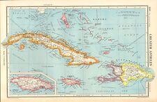 1952 MAP ~ maggiore Antille ~ Bahama isole GIAMAICA CUBA Haiti