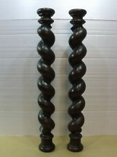 "24.4"" French antique two beautiful old carved oak twists"