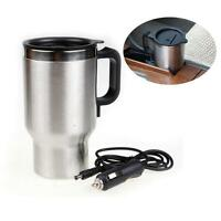 12V Stainless Steel Electric Mug Kettle Car Heated Warm Travel Outdoor Truck @BT