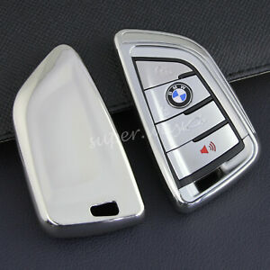 For BMW 2/3/5/6/7/M5/X1/X2/X3/X4/X5/X6/X7 Silver Car Smart Key Cover Case Holder