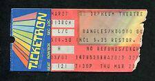 1987 The Bangles Hoodoo Gurus Concert Ticket Stub Orpheum Walk Like An Egyptian