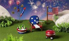 Miniature Mini World Americana 5pc Boxed Kit 706417 Faerie Garden Cake Topper