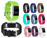 Replacement Silicone Carbon Wristband Band Strap With Buckle for Fitbit Charge 2