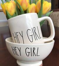 Rae Dunn Hey Girl! Bowl AND Mug Set Farmhouse Summer Etched  Home Decor Gift New