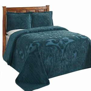 """Ashton Chenille Bed Spread Queen - 102""""X110"""" In Teal"""
