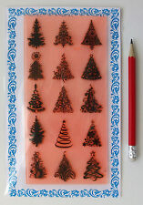"""Clear Stamps Lot (4""""x7"""") Christmas Trees Pattern FLONZ Vintage Rubber Stamps 048"""