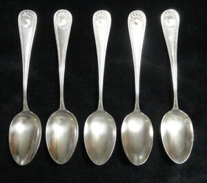 """Antique 1880 5 STERLING SILVER Whiting BEAD Pattern 5 1/4"""" Smaller TEASPOONS"""