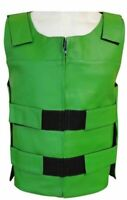 Bullet Proof style Green Leather Motorcycle Vest for bikers Tactical Vest NEW