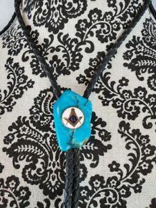 Genuine Turquoise Nugget Western Masonic Bolo Tie Black Leather wrap Dangles