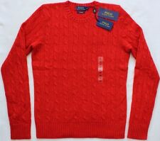 POLO Donna Ralph Lauren Cashmere Cable Knit Sweater Maglione Slim Fit RRP £ 330