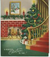 VINTAGE CHRISTMAS TREE RED BRICK FIREPLACE STAIRS CANDLES HOLLY CARD ART PRINT