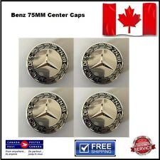 "4 X Mercedes Benz Wheel Center Caps -Blue & Silver - All Models 75 MM (2.95"")"