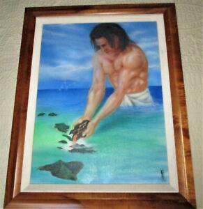 Hawaii 2002 SIGNED PAINTING Raba? MAUI DEMIGOD CREATING ISLANDS Koa Veneer