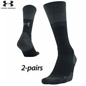 UA Socks: 2-PAIR Unrivaled 3.0 Crew (XL) Black