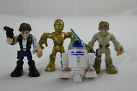 "Lot of 4 Star Wars 2"" Playskool Heroes Han Solo, Luke Skywalker, C3PO, R2-D2"