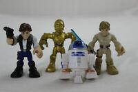 """Lot of 4 Star Wars 2"""" Playskool Heroes Han Solo, Luke Skywalker, C3PO, R2-D2"""