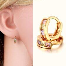 Elegant Women 18K Gold Filled Rainbow Crystal CZ Huggie Hoop Earrings