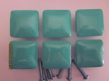 "6  TURQUOISE  SQUARE  Wood  Dresser  Drawer Pulls  Knobs 1 1/2"" / hole & screws"