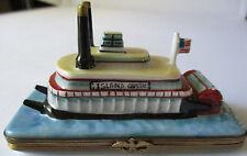LIMOGES FRANCE PEINT MAIN ISLAND QUEEN MISSISSIPPI RIVER BOAT TRINKET BOX