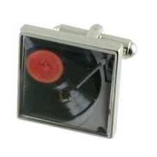 DJ giradischi MUSICA Solido Argento Finissimo 925 Gemelli incisi finestra di messaggio