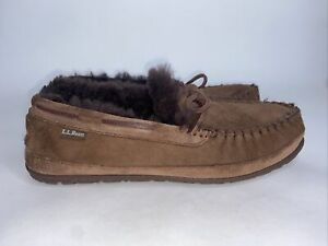 LL Bean Men Size 9 Slippers Wicked Good Chocolate Brown Shearling Lined (F)