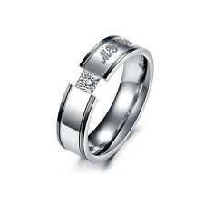 1PC Men Women Stainless Steel MY LOVE Engagement Wedding Crystal Band Ring