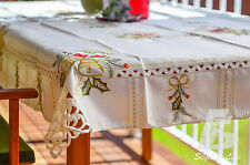Large Square Table Cloth, Embroidered Christmas Candle&Bells, 150cm FFD002C