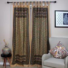 Handmade Floral Print 100% Cotton Tab Top Curtain Drape Panel 44x88 Green Earthy