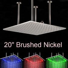 "LED 20"" Brushed Nickel Square Rain Shower Head Ceiling Mount Top Shower Sprayer"
