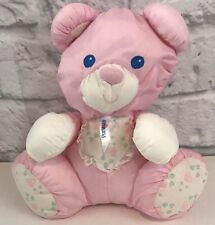 1994 Fisher Price Puffalump Pink Bear Rattle Baby Plush Bib Hearts EUC