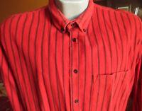 LARGE TRUE VTG 90s SAUGATUCK RED STRIPE COTTON FLANNEL OXFORD SHIRT