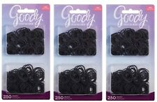 3PK of 250 Goody Ouchless Mini Black No Metal Hair Elastics Ponytail Holders