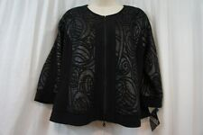R&M Richards Bolero Sz 14 Black Gray 3/4 Sleeve Textured Evening Dinner Bolero