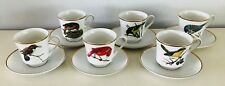 6 Bird Coffee Cups & Saucers by Berkeley House #4679 Made in Japan Gold Trim