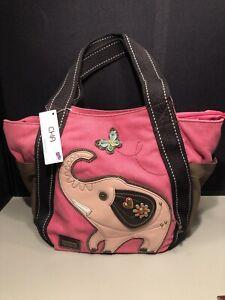 New Chala Handbag Carryall Zip Tote Elephant Pink Large Bag Canvas
