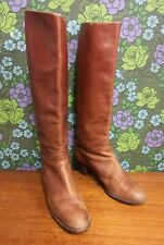 Vintage Tan / Brown Leather Pull On High Heel Boots Sz UK 5