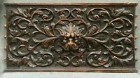 Big antique french wood panel low relief 19th century black forest lion woodwork