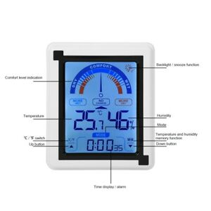 LCD Touch Screen Weather Clock Digital Temperature Humidity Meter Thermometer BY