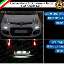 LUCI DIURNE DRL A LED + LUCI TARGA A LED CANBUS FIAT PANDA MK3 NO ERROR 6000K