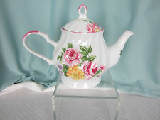 Delton Teapot Porcelain China PInk and Yellow Roses Chipped Spout Home Decor