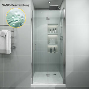 Nischentür Dusche Falttür 90 Duschtür Duschabtrennung NANO Glas 195H Nische Bad