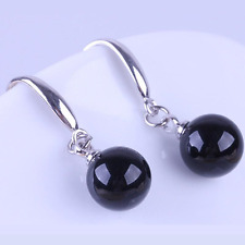 Solid Silver Black Round Drop Hook Earrings Office Party Gift Holiday Summer New