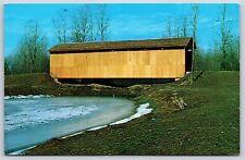 Clifty Covered Bridge Mill Run Creek Bartholomew County, Indiana Chrome Postcard