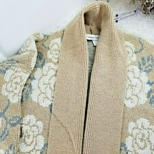 NEW Carriage Court womens tan Open Long Cardigan SIZE M 10-12 floral knit L/S (C