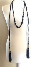 TOPSHOP BEAUTIFUL TASSEL AND BEAD SKINNY SCARF NECKLACE LARIAT STATEMENT NEW
