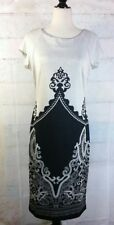 Sami + Dani Size 10 Black print off white  Dress Short Sleeve Sheath Stretch